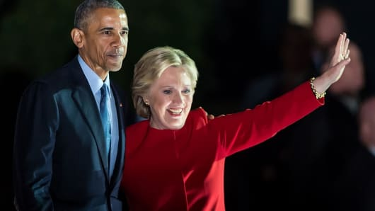 President Barack Obama and Democratic presidential nominee former Secretary of State Hillary Rodham Clinton on stage during the Hillary Clinton 'Get Out The Vote' campaign rally on November 7, 2016 in Philadelphia, Pennsylvania.