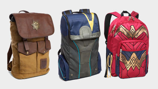 Rick Grimes Sheriff's Backpack, Halo 5 Spartan Locke Backpack and Dawn of Justice Wonder Woman Backpack from Think Geek