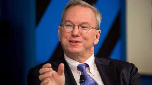 Eric Schmidt, executive chairman of Alphabet Inc., speaks during the New York Times DealBook conference in New York, U.S., on Thursday, Nov. 10, 2016.