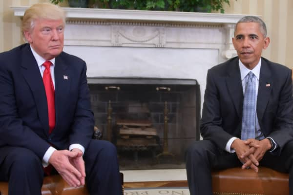 President Barack Obama meets with President-elect Donald Trump to update him on transition planning in the Oval Office at the White House on November 10, 2016 in Washington,DC.