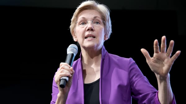 Senator Elizabeth Warren speaks onstage at EMILY's List Breaking Through 2016 at the Democratic National Convention at Kimmel Center for the Performing Arts on July 27, 2016 in Philadelphia.