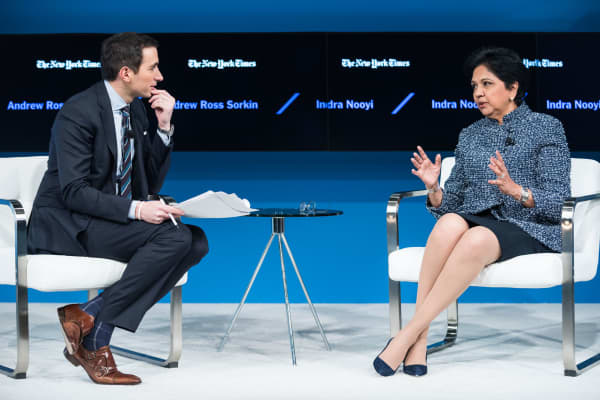 Indra Nooyi, speaking with Andrew Ross Sorkin at the Dealbook conference, November 10, 2016 in New York.