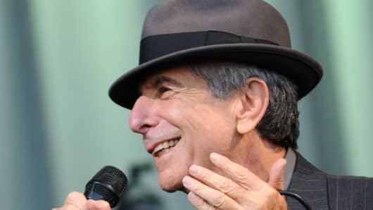 Leonard Cohen performs on the Pyramid stage on day three of the Glastonbury Festival on June 29, 2008.