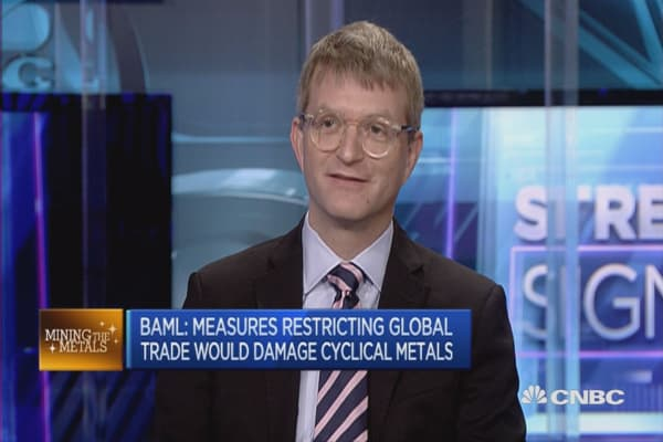 Measures restricting global trade would damage cyclical metals: BAML