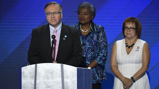 Raymond Buckley, vice chair of the Democratic National Committee, speaks during the Democratic National Convention (DNC) in Philadelphia, Pennsylvania, U.S., on Thursday, July 28, 2016.