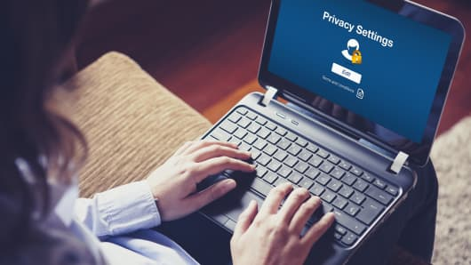 'Privacy settings' on laptop screen