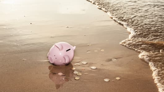 Piggy bank washed up on beach