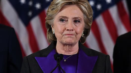 Democratic presidential candidate Hillary Clinton makes her concession speech, after being defeated by Republican president-elect Donald Trump.