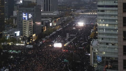 Organizers estimated that 850,000 people attended the anti-Park rally in Seoul on Nov. 12, making it the country's biggest protest march since it shook off dictatorship 30 years ago.