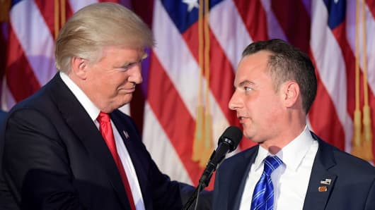 Chairman of the Republican National Committee (RNC) Reince Priebus (R) shakes hands with Republican presidential elect Donald Trump (L) during election night at the New York Hilton Midtown in New York on November 9, 2016