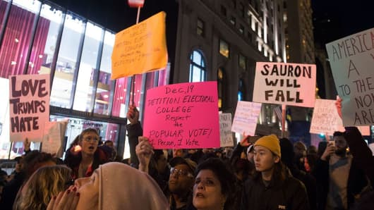 Demonstrators protest against Donald Trump on Fifth Avenue outside Trump Tower on November 13, 2016.
