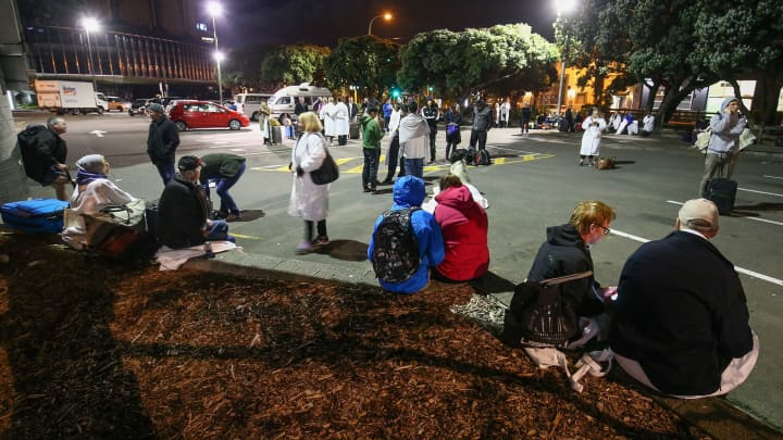 Amora Hotel guests gather in a carpark after an earthquake on November 14, 2016 in Wellington, New Zealand.