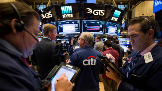 Trading on the floor of NYSE- Citigroup