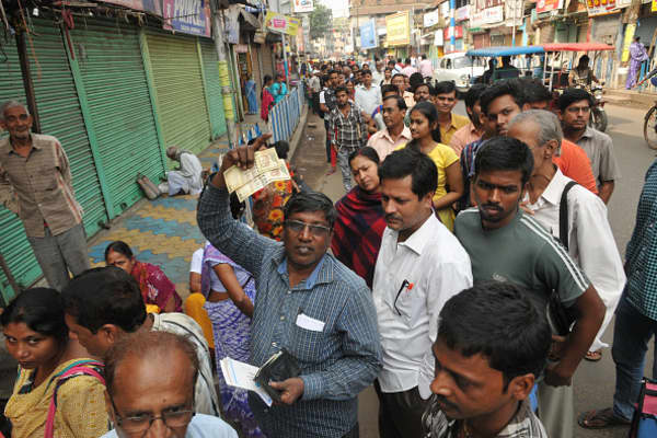 Indians queuing to exchange bank notes after the government introduced demonetization in November, 2016