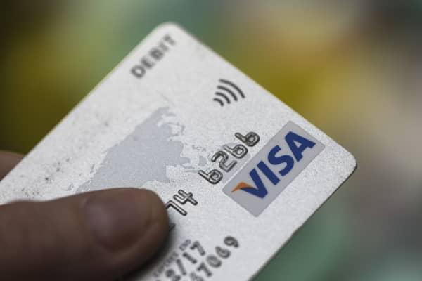Visa debit credit card.