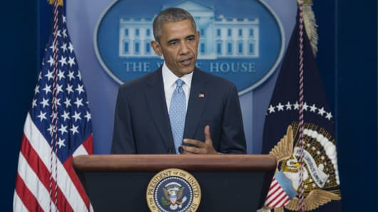 President Obama speaks at a press conference
