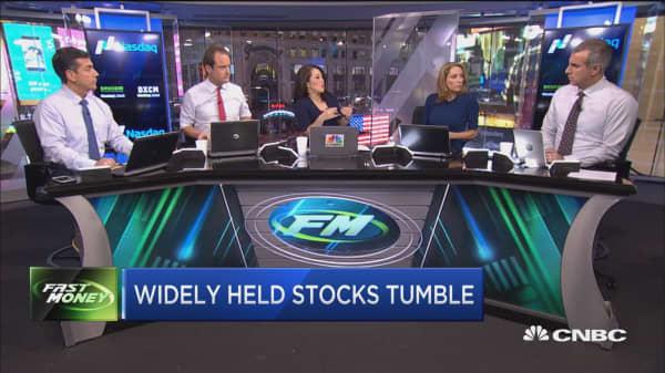 Widely held stocks tumble