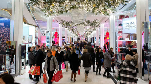 Shoppers in a mall during the holidays in New York City