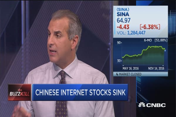 Chinese Internet stocks sink