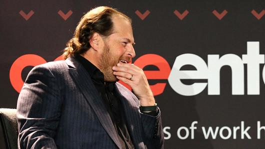 SalesForce CEO Marc Benioff speaking at the Code Enterprise Conference on Nov. 14, 2016.