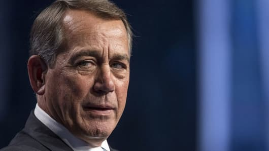 John Boehner, former U.S. House Speaker, speaks during the Skybridge Alternatives (SALT) conference in Las Vegas, Nevada, U.S., on Thursday, May 12, 2016.