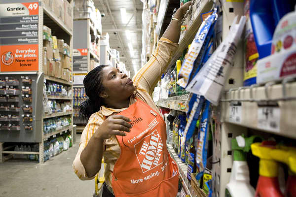 A employee at a Home Depot store in Brooklyn, New York.