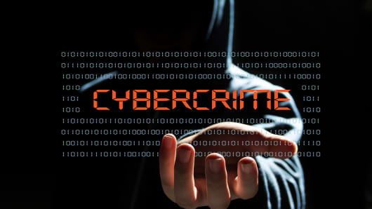 Cyber hacker with cyber crime text icon