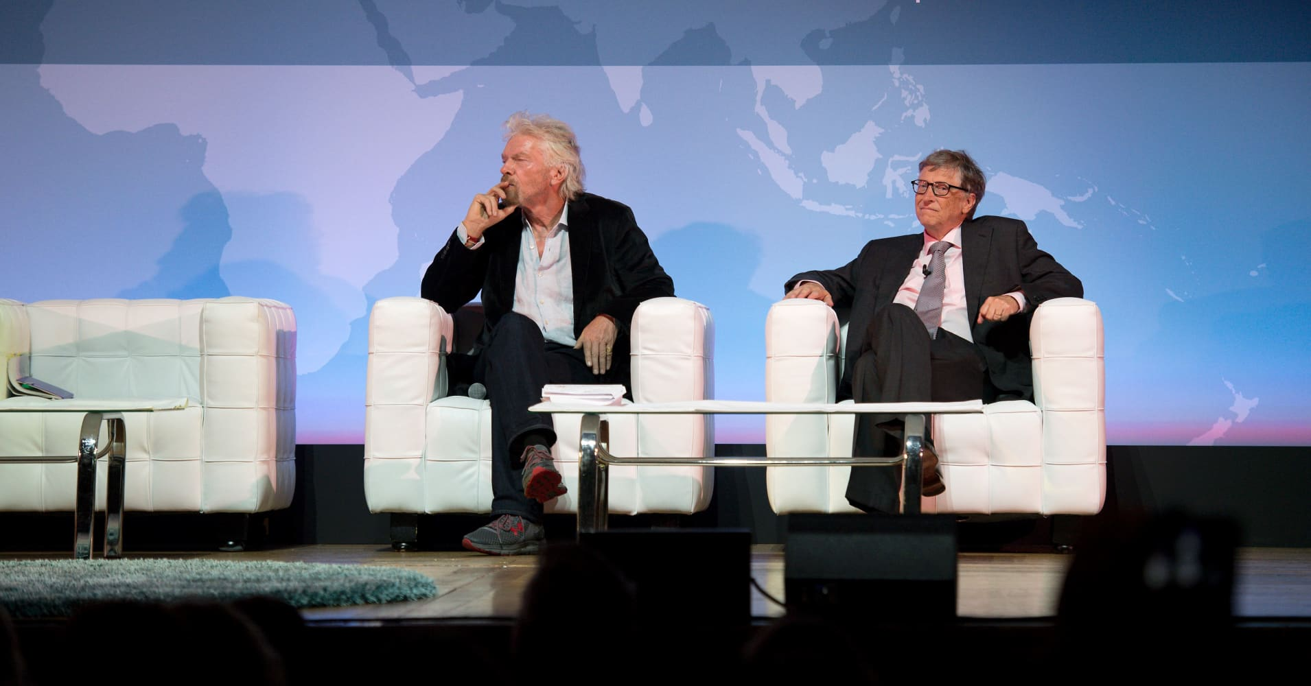Richard Branson and Bill Gates at the Grand Challenges meeting in London on October 26, 2016.