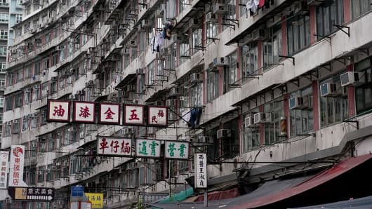Residential units are seen clustered tightly together in an apartment complex in the Quarry Bay area of Hong Kong.