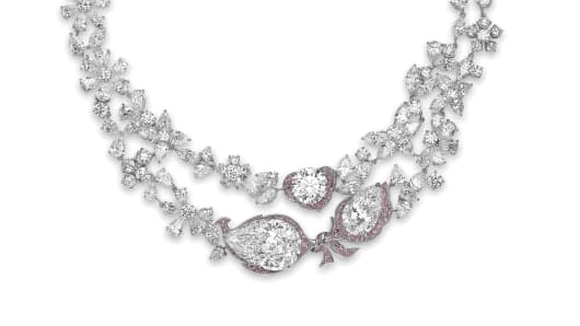 Le Jardin d'Isabelle A D colour diamond and coloured diamond necklace by Boehmer et Bassenge