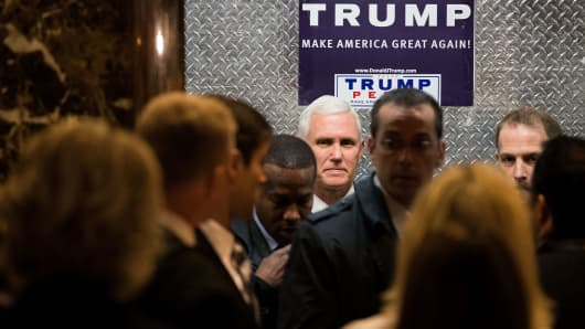 Vice President-elect Mike Pence gets into an elevator as he arrives at Trump Tower, November 15, 2016, in New York City.