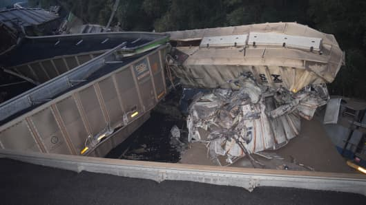 Two trains collide and derail in Marion County, Florida on Nov. 16th, 2016.