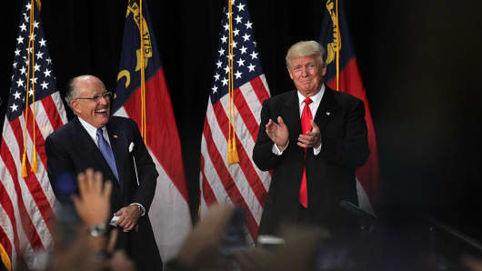 Former New York City Mayor Rudy Giuliani introduces Republican presidential candidate Donald Trump at a rally on August 18, 2016 at the Charlotte Convention Center in Charlotte, North Carolina.