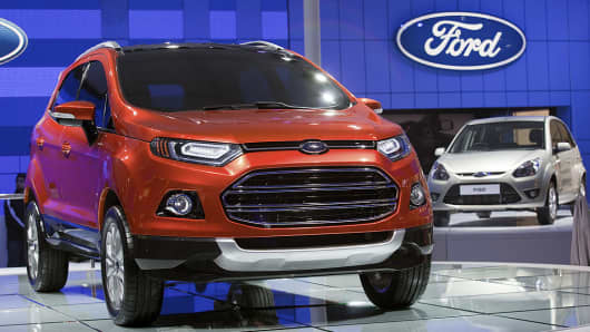 A Ford Motor Co. EcoSport sport-utility vehicle (SUV) is displayed at the Auto Expo 2012 in New Delhi, India, on Thursday, Jan. 5, 2012.