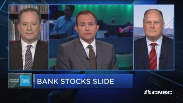 Trading Nation: Bank stocks slide