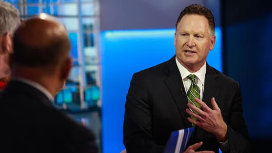Mark Trudeau, chief executive officer of Mallinckrodt Plc, speaks during a Bloomberg Television interview in New York, U.S., on Tuesday, Dec. 8, 2015.