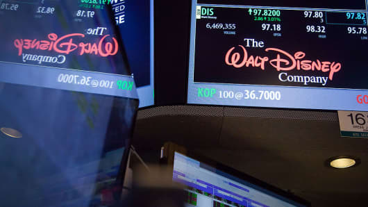 Walt Disney Co., signage is displayed on the floor of the New York Stock Exchange (NYSE) in New York, U.S., on Friday, Nov. 11, 2016.