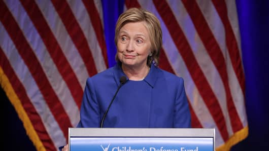 Hillary Clinton delivers remarks while being honored during the Children's Defense Fund's Beat the Odds Celebration at the Newseum November 16, 2016 in Washington, DC.