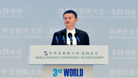 Alibaba chairman Jack Ma speaks at the opening ceremony of the World Internet Conference in Wuzhen, China's Zhejiang province on November 16, 2016.