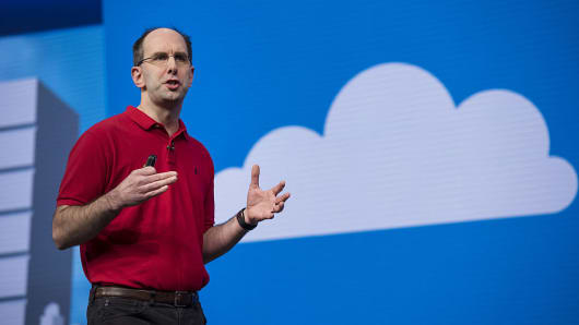 Scott Guthrie, executive vice president of the cloud and enterprise group at Microsoft Corp., speaks during a keynote session at the Microsoft Developers Build Conference in San Francisco, California, U.S., on Thursday,