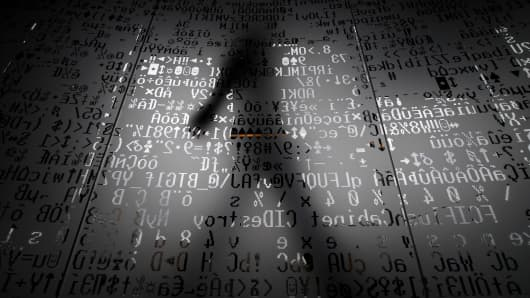 Cyber hacking, silhouette, technology