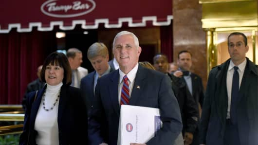 Vice President-elect Mike Pence arrives at Trump Tower for meetings with President-elect Donald Trump November 15, 2016 in New York.