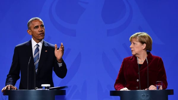 President Barack Obama and German Chancellor Angela Merkel address a press conference after their meeting at the chancellery in Berlin on November 17, 2016.