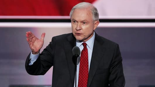 Sen. Jeff Sessions (R-AL) delivers a speech during the opening of the second day of the Republican National Convention on July 19, 2016 at the Quicken Loans Arena in Cleveland, Ohio.