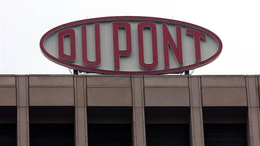 A DuPont sign is shown at the company's world headquarters in Wilmington, Delaware.