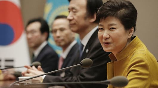 South Korean President Park Geun-Hye speaks during a meeting with Kazakhstan's President Nursultan Nazarbayev at the presidential house in Seoul on November 10, 2016.