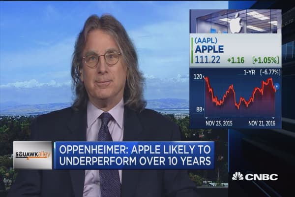 Oppenheimer: Apple likely to underperform over 10 years