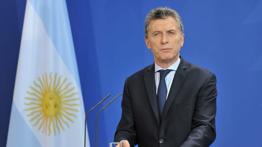 Argentinian President Mauricio Macri speaks during a joint press conference with German Chancellor after their meeting n Berlin, Germany on July 05, 2016.