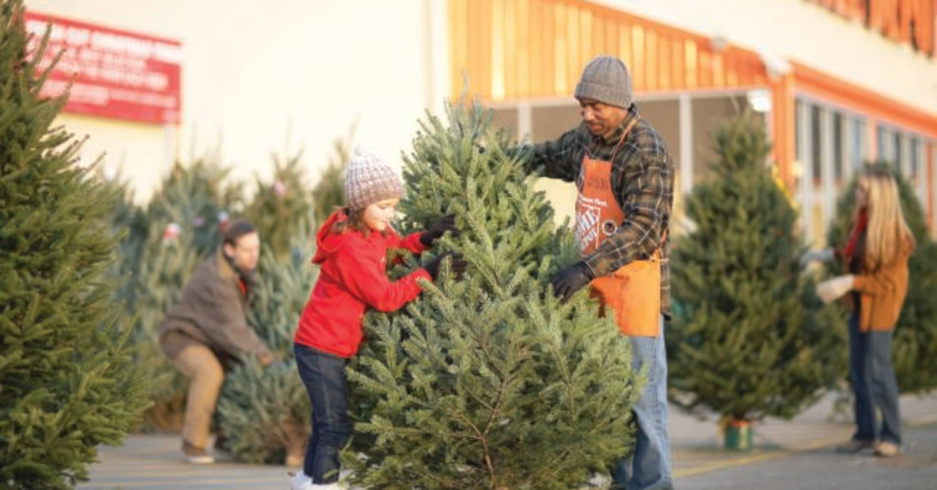Home Depot Wants To Grab A Bigger Chunk Of Black Friday Shoppers  - Christmas Trees In Home Depot