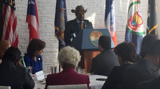 Senator Ruben Diaz Sr., who represents the Bronx, speaks at a Puerto Rican Heritage Month celebration at Don Coqui on City Island in New York City.